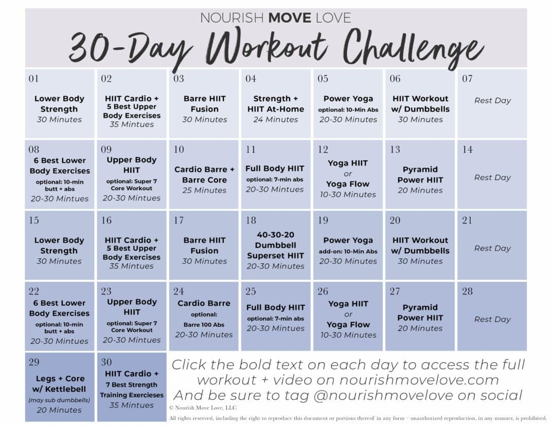 Free 30 Day Workout Challenge + Workout Calendar |Nourish for 30 Day Fitness Challenge Calendar