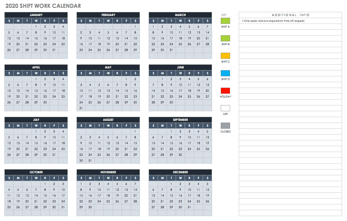 Free Blank Calendar Templates – Smartsheet For 12 Mo Calendar Template One Page No Dates