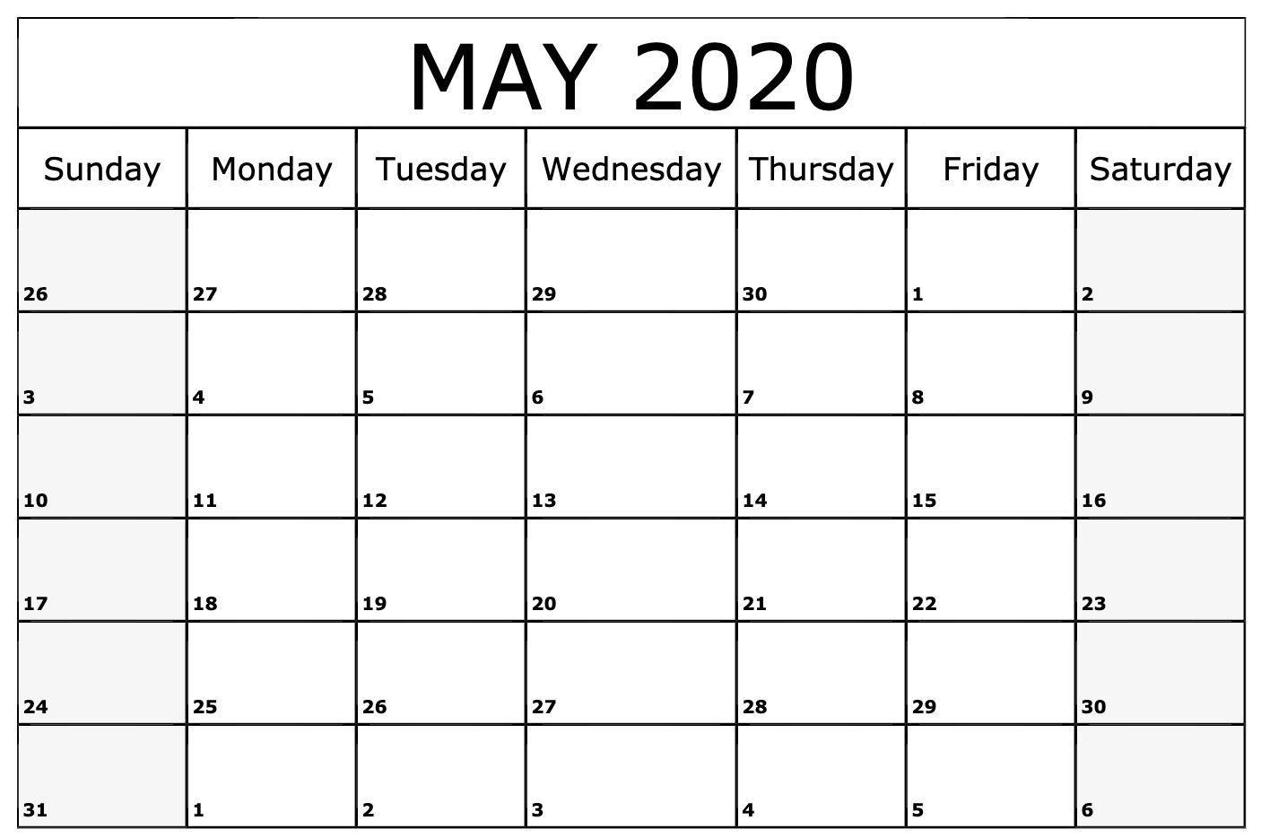 Free Cute May 2020 Calendar Template   Printable Calendar Within Sunrise Sunset Calendar Printable