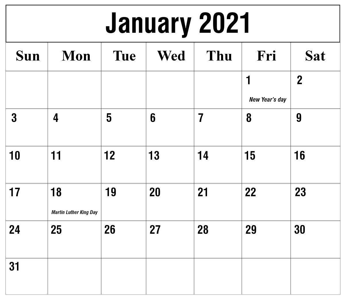 Free January 2021 Printable Calendar Template In Pdf, Excel In Julian Vs Gregorian Calendar 2021