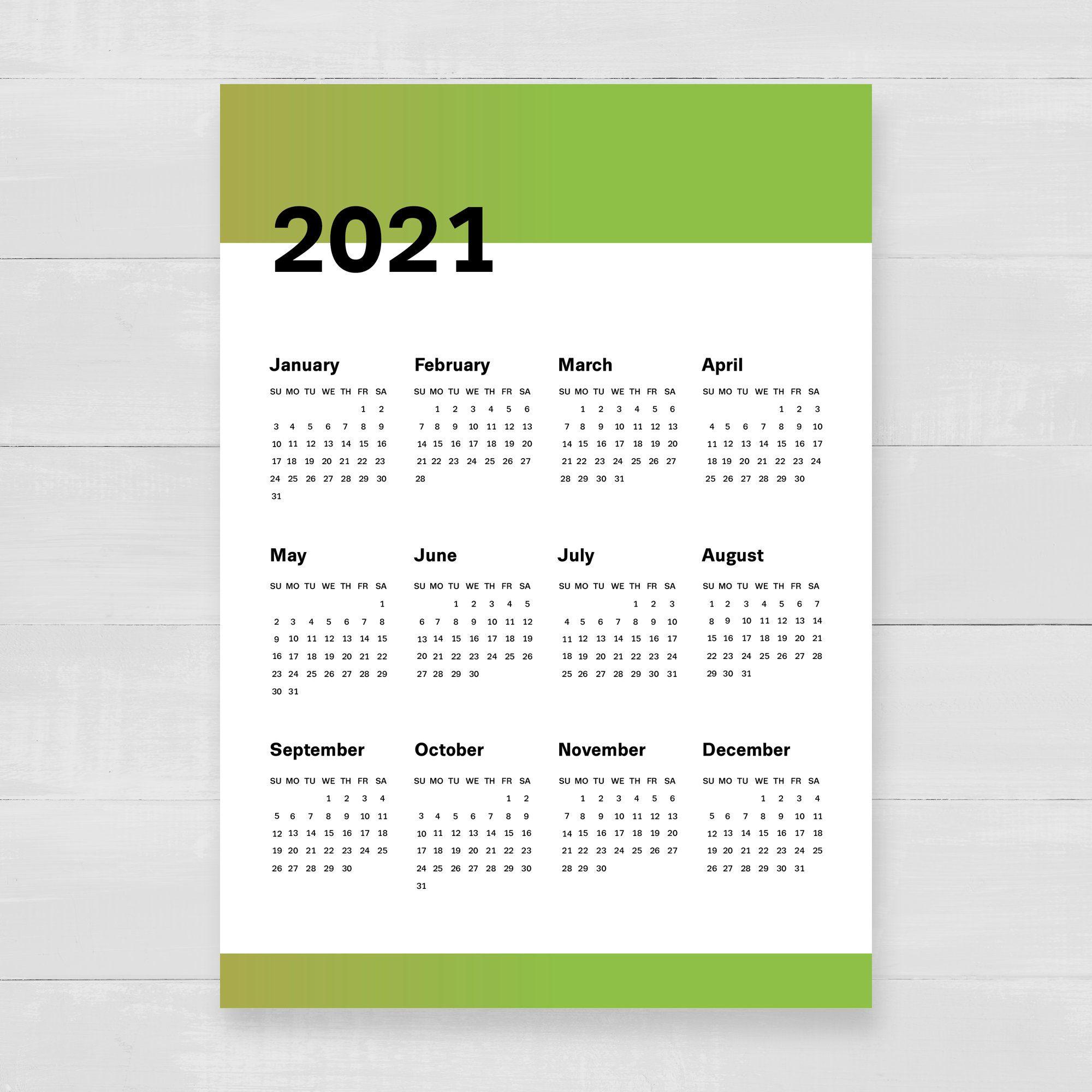 Gradient Calendar 2018 2019 2020 2021 Digital Planner (С With Regard To Editable 2021 Elf Calendar
