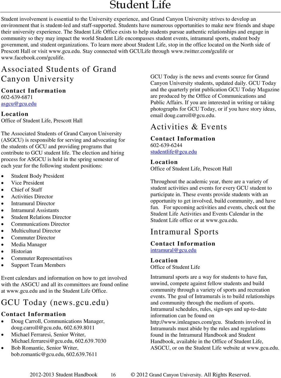 Grand Canyon University Student Handbook - Pdf Free Download With Gcu Academic Calendar