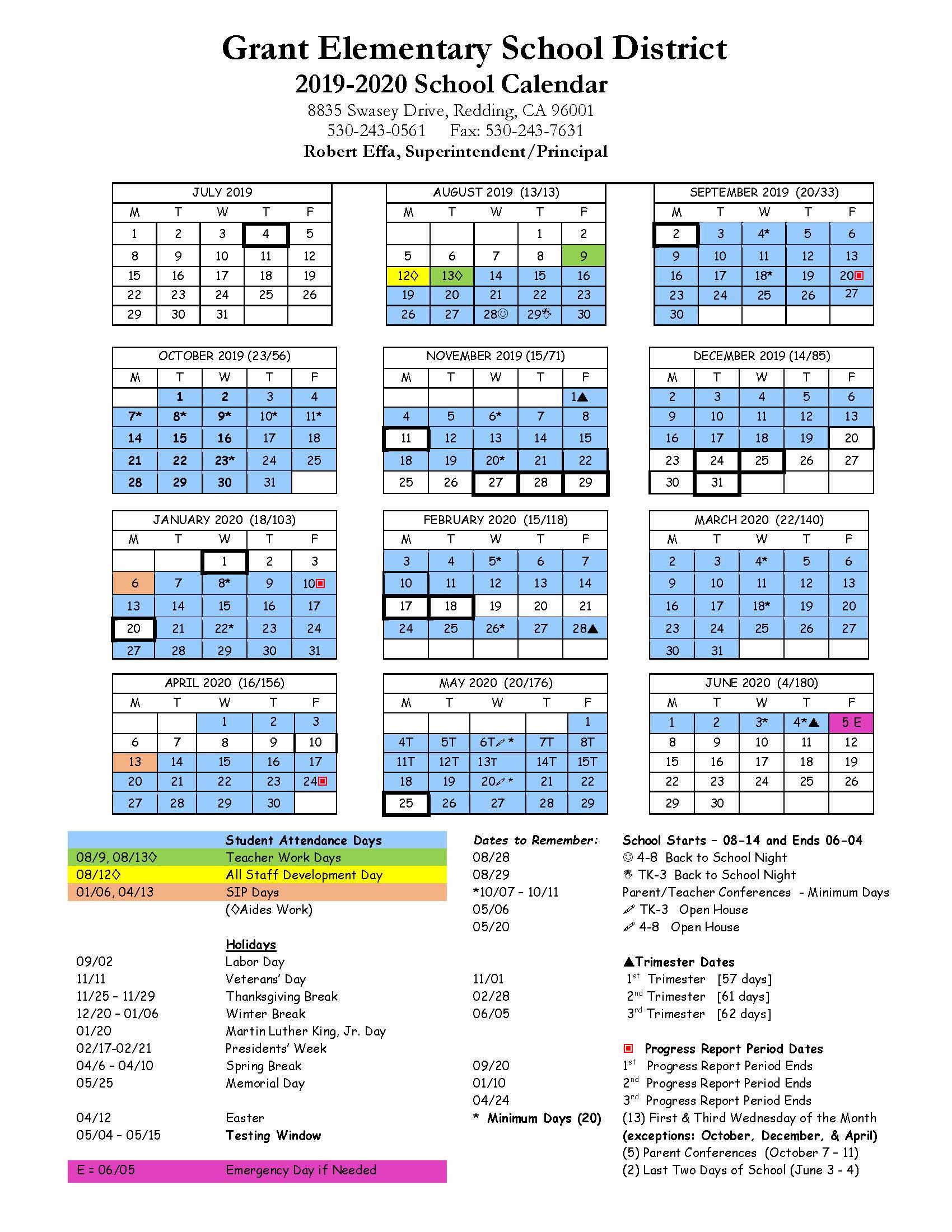 Grant School Year Calendar 2019/20 – Grant School In Red Bluff High School Calendar 2021  2020