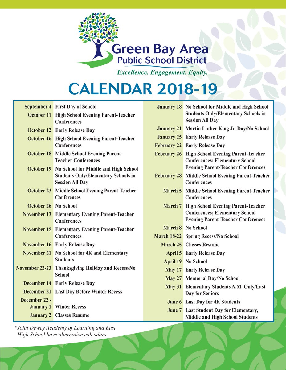 """Greenbayschools On Twitter: """"looking To Plan Ahead For Next With Green Bay School District Calendar"""