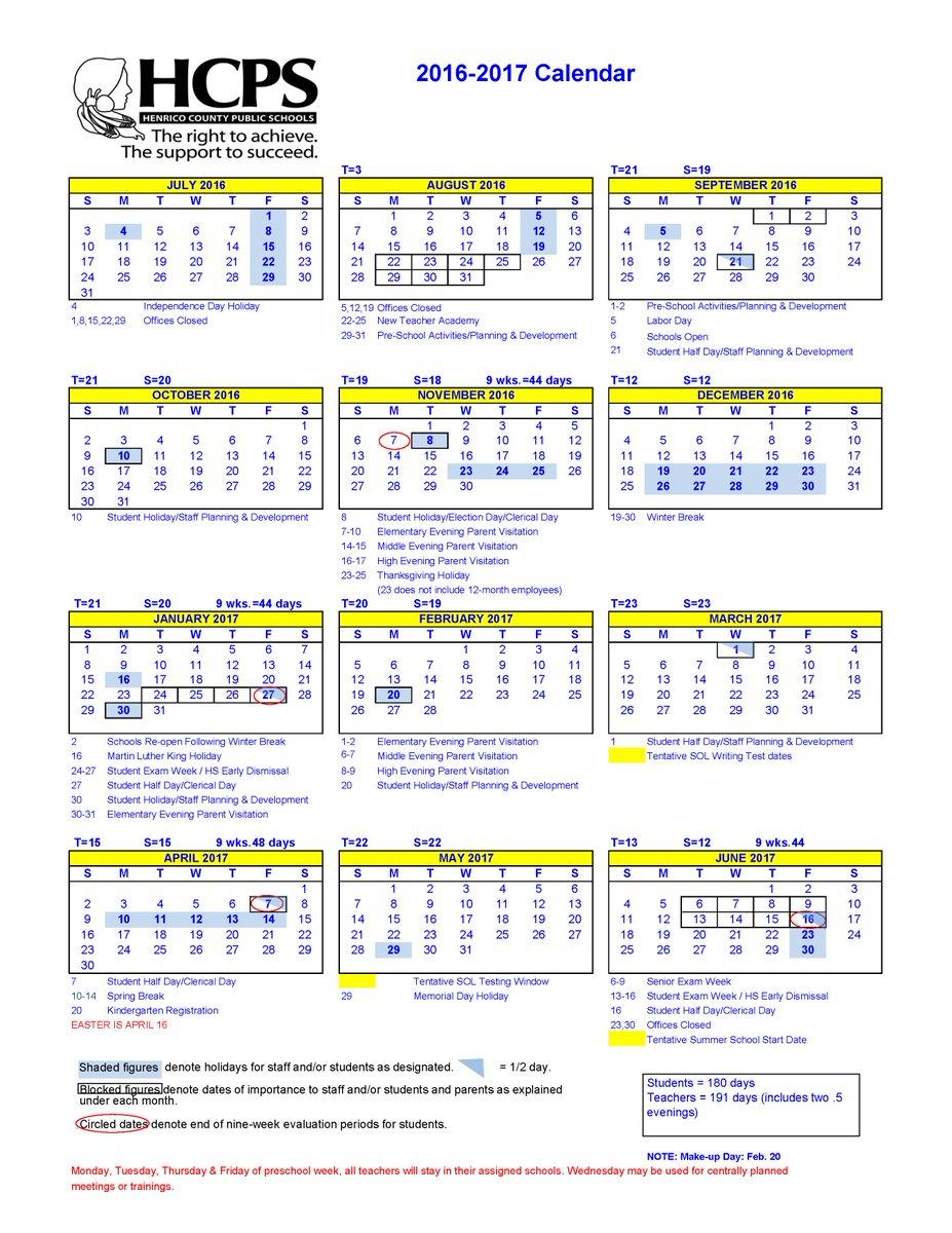 "Henrico Schools On Twitter: ""2016-17 School Calendar: Https in Davidson County Tn School Calendar20"