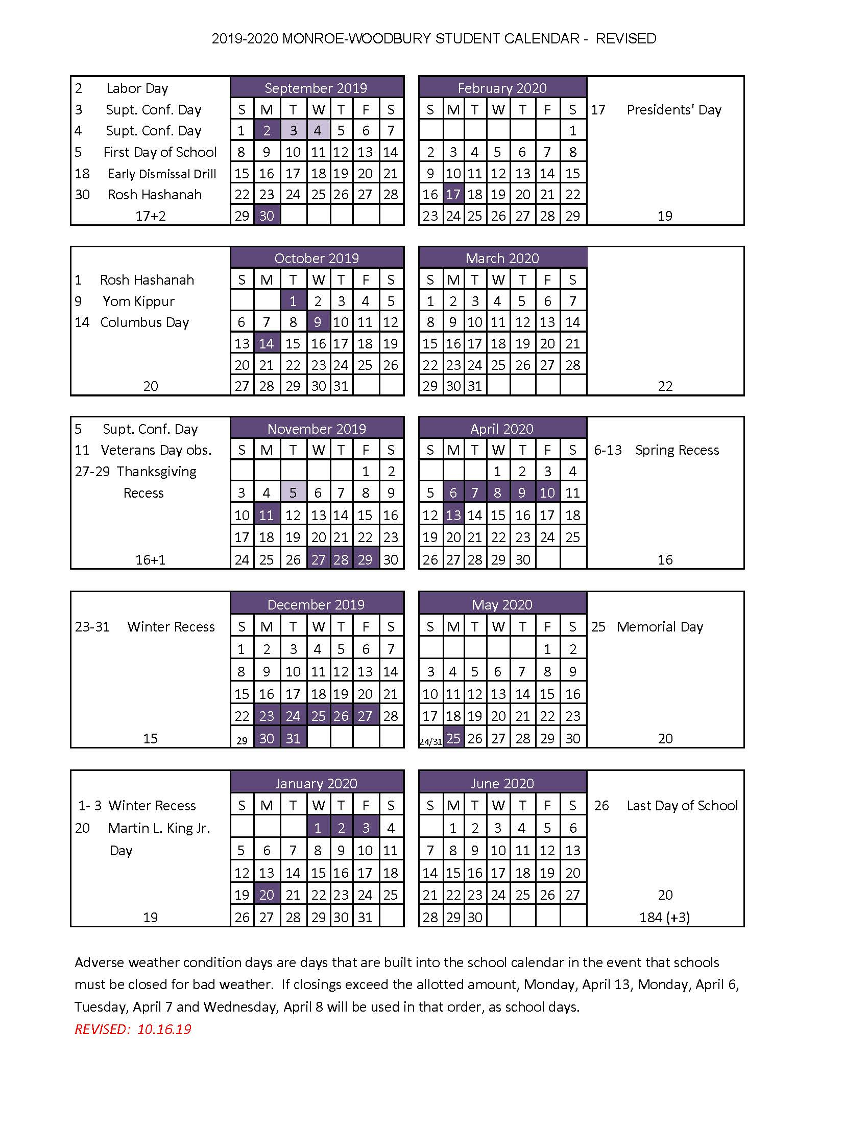 High School Handbook - Monroe-Woodbury Central School pertaining to Bedford Central School Calendar