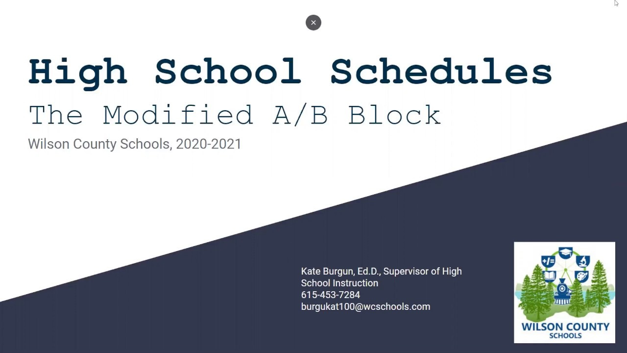 High School Modified A/b Block Schedule  Wilson County Schools With Regard To When Is Fall Break For Wilson County Schools