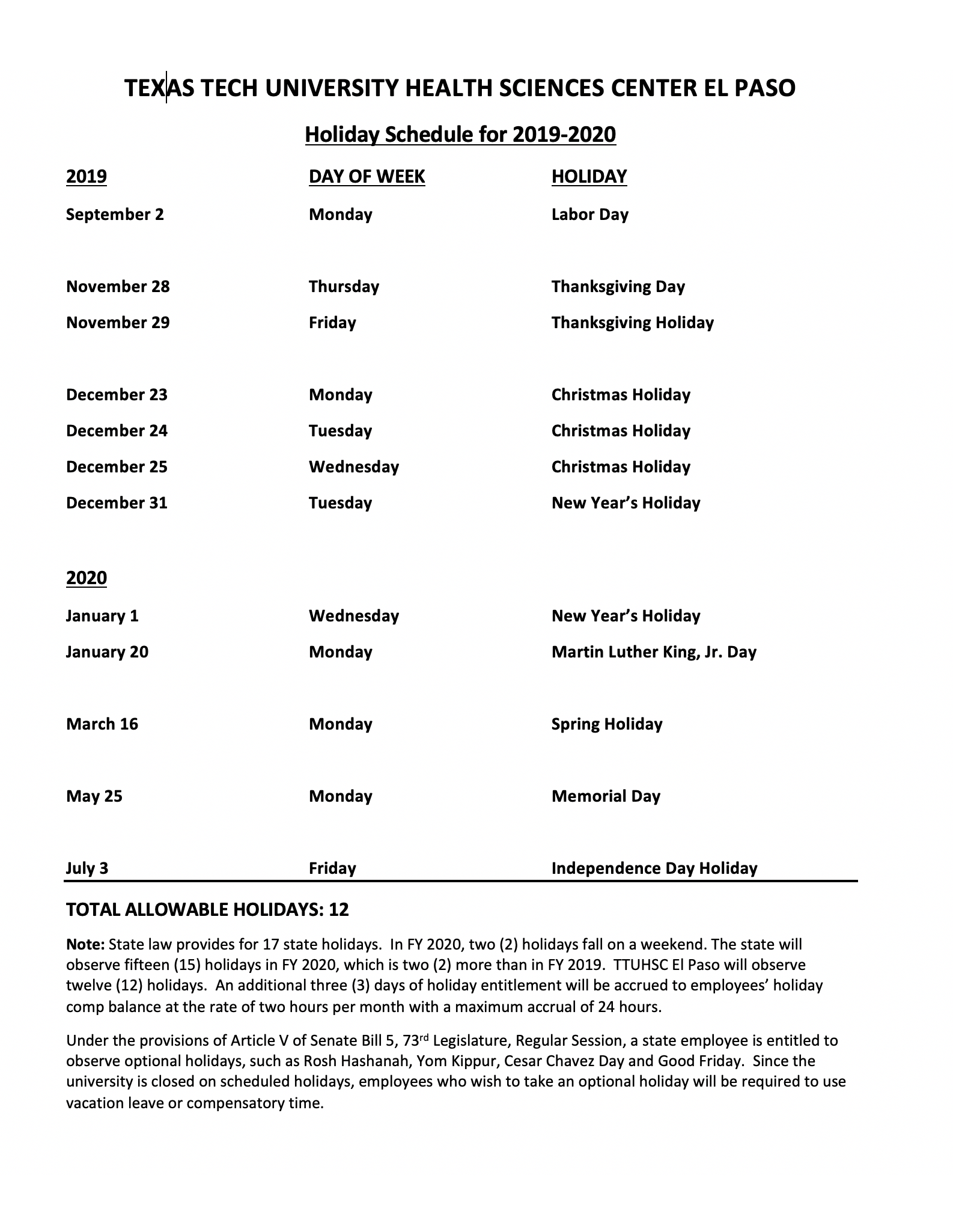Holiday Schedule For 2019-2020 within Texas Tech University Holiday Schedule 2021