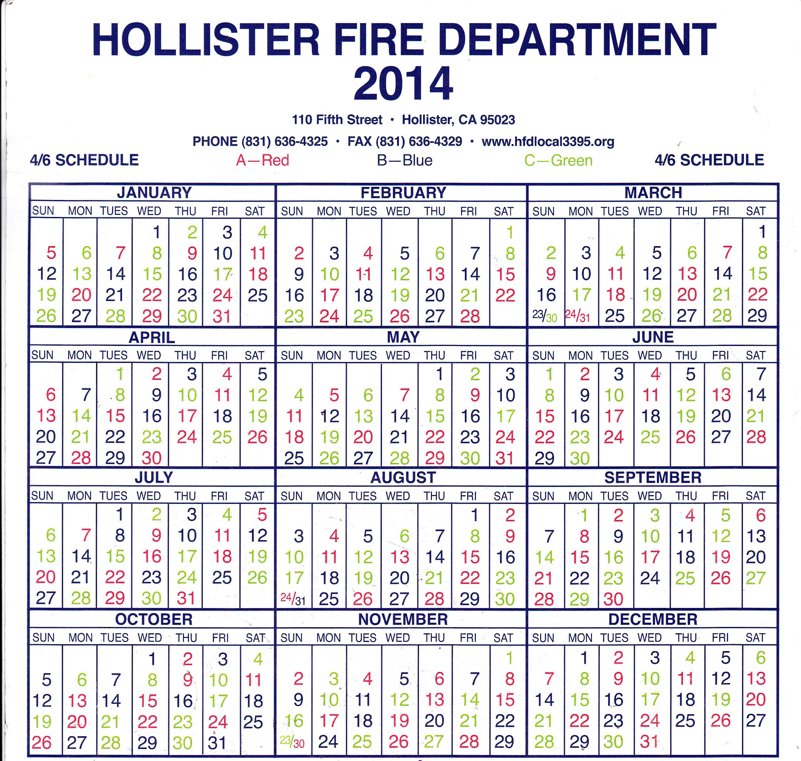 Hollister Fire Department Local 3395 - Shift Calendar In Houston Fire Department Shift Calendar