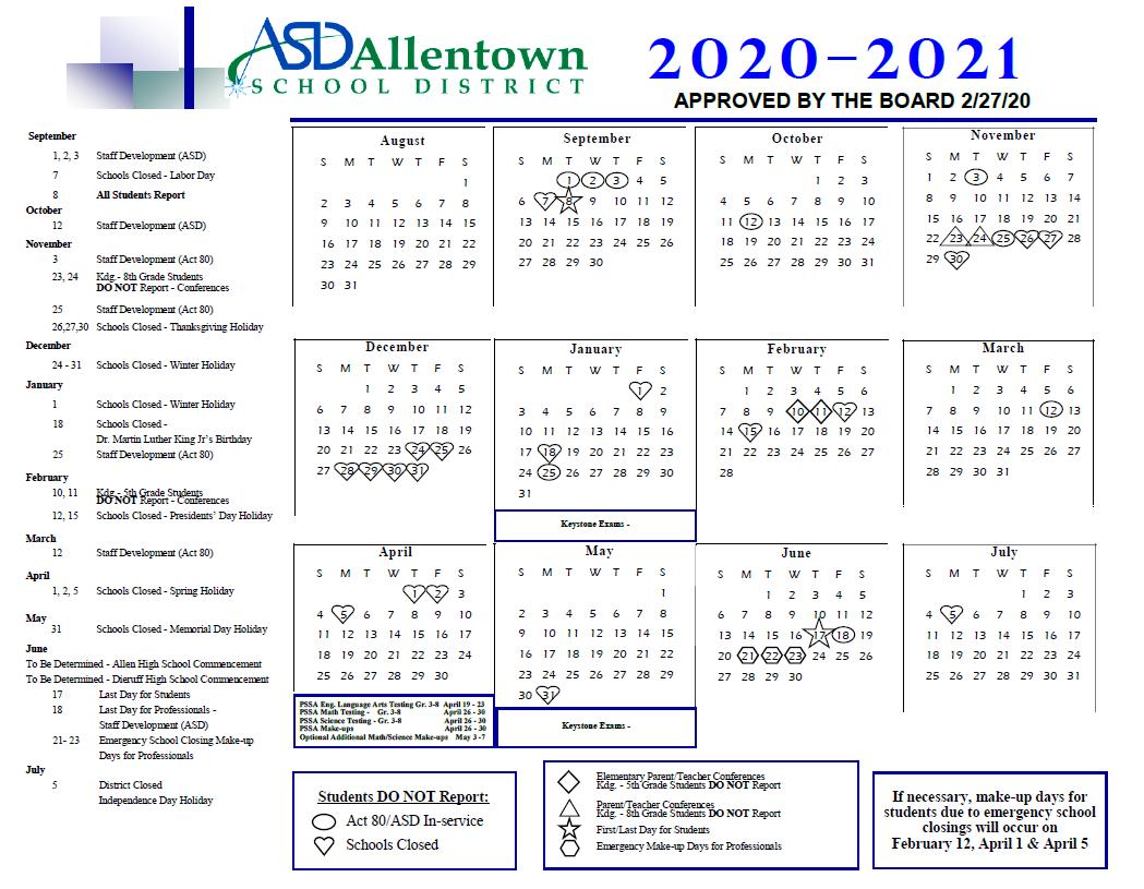 Home - Allentown School District With Bethlehem Area School District Calendar 2021