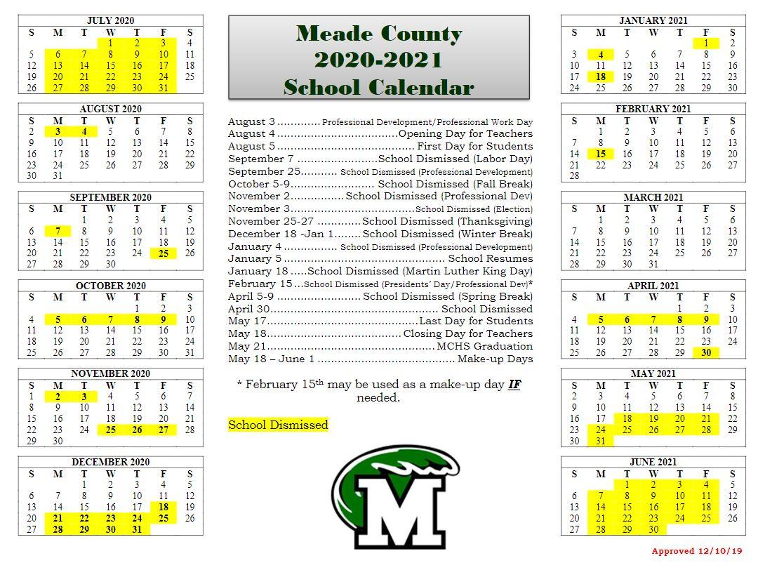Home – Meade County School District For Miller Place School Calendar