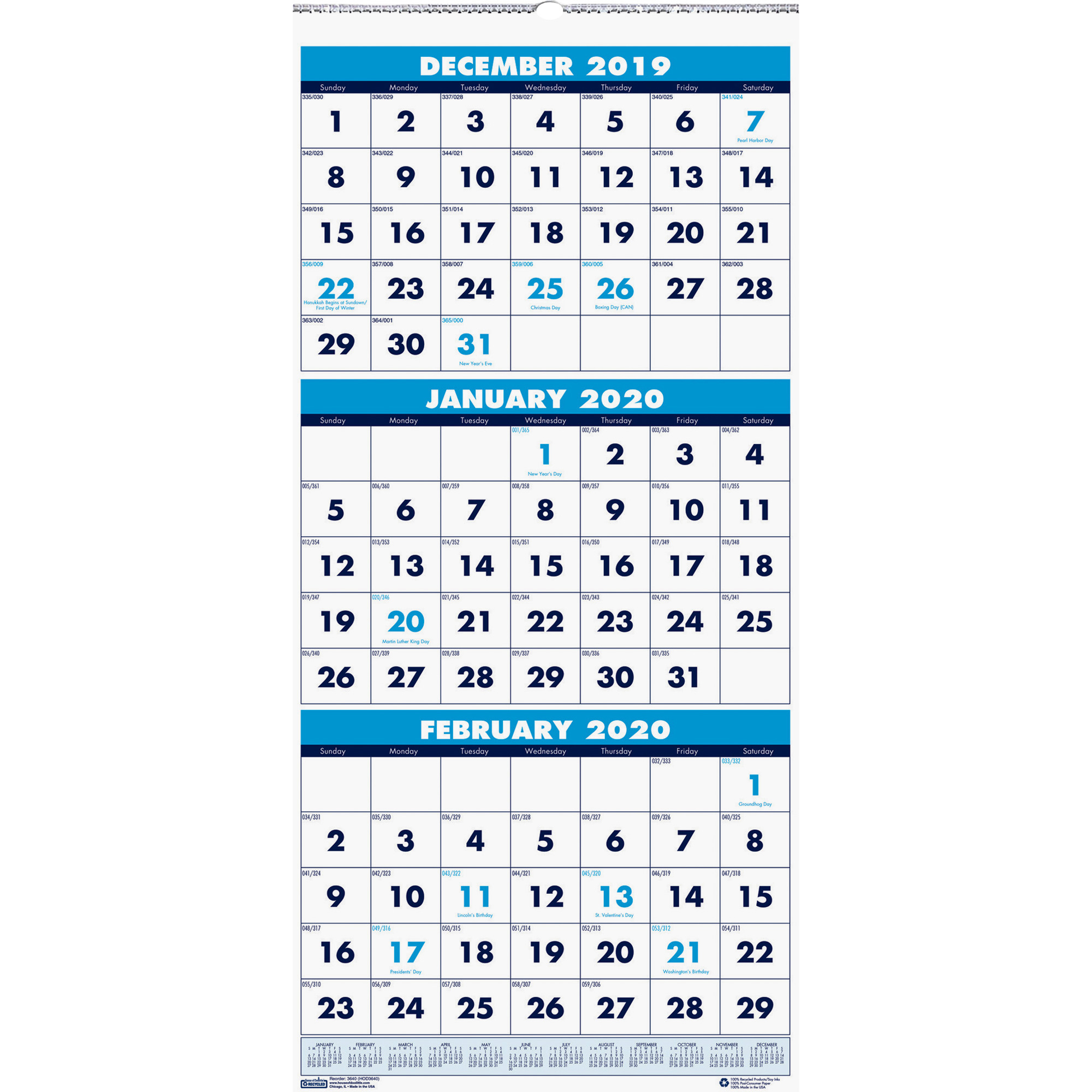 """House Of Doolittle Three Month Vertical Wall Calendar – Monthly – 1.2 Year  – December 2019 Till January 2021 – 3 Month Single Page Layout – 12 1/4"""" X Throughout Houston County Ga Calendar 2021 2021"""
