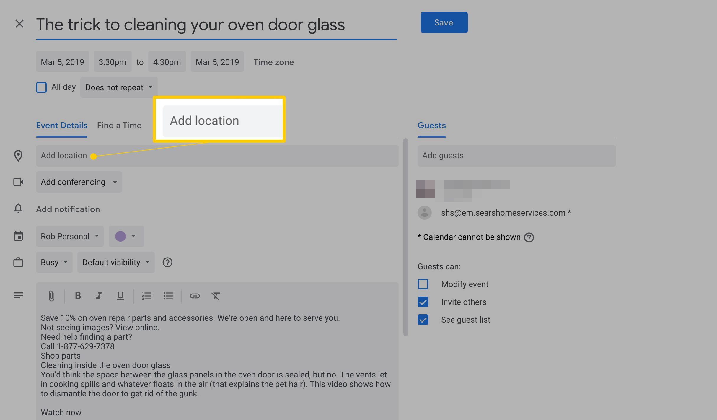 How To Create A Google Calendar Event From A Gmail Message In Google Calender Adding Notes