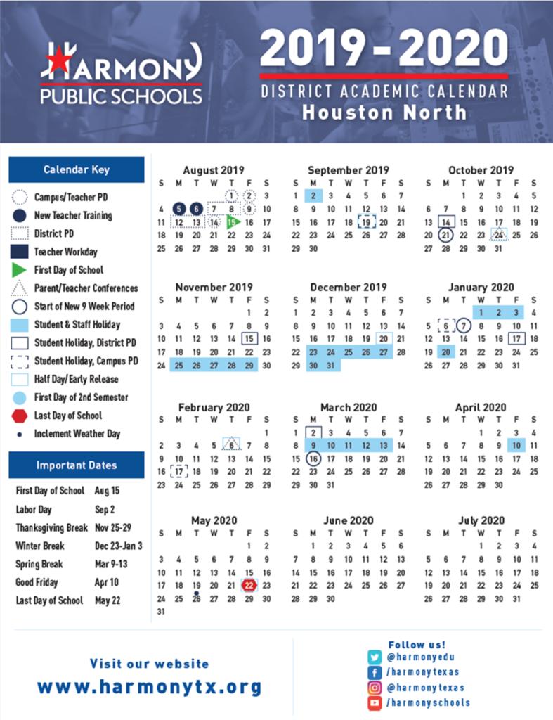 Hse Academic Calendar – Harmony School Of Excellence – Houston With Regard To New Caney School Calendar