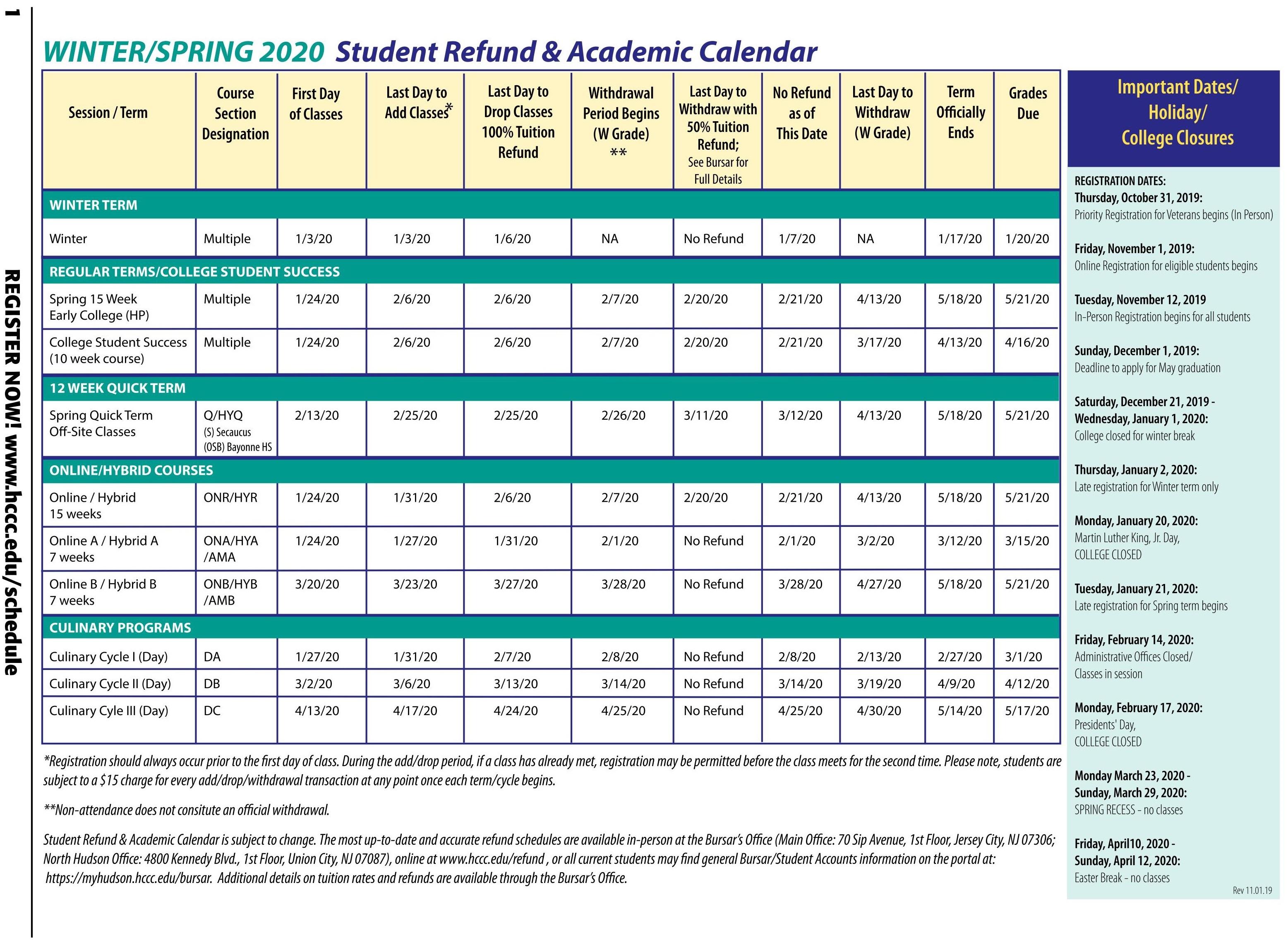 Hudson County Community College pertaining to 2020 Nassau Community College Academic Calendar