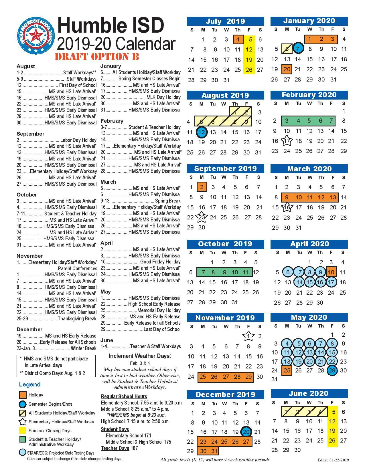Humble Isd Adds Week Long Vacations In February, October To With Brownsville Bisd School District Calendar
