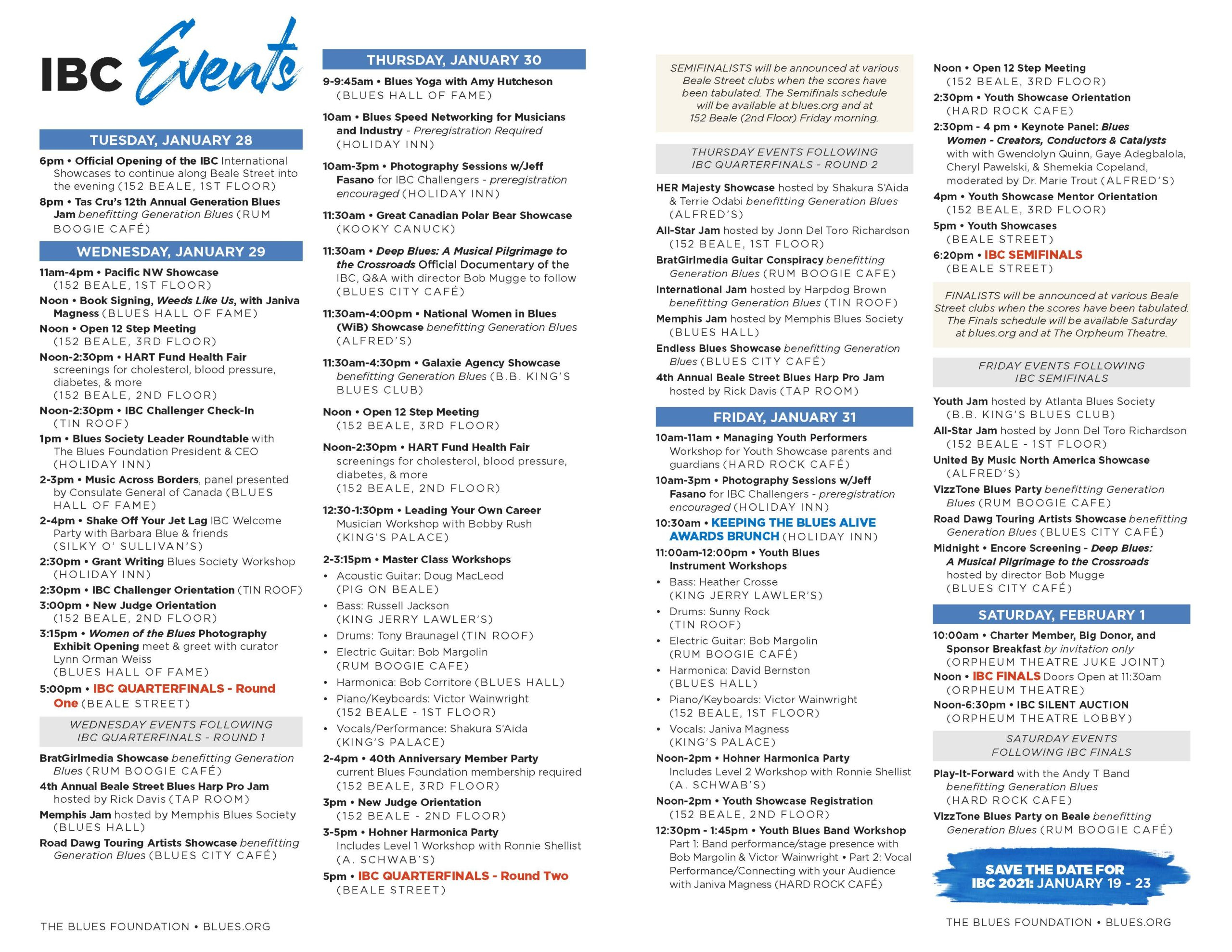 Ibc Event Program - Blues Foundation For Blues Alley Schedule 2021