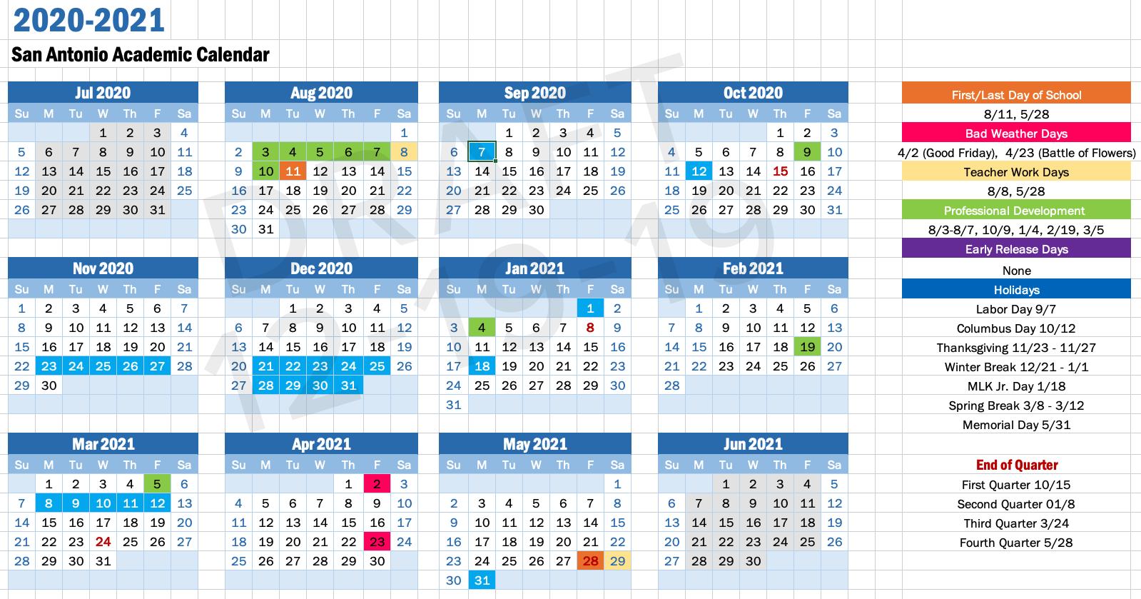 Idea Academic Calendar For San Diego School Calendar 2021