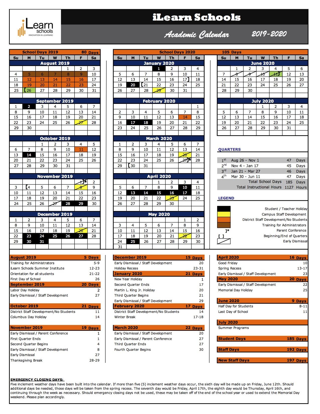 Ilearn Schools 2019 2020 Academic Calendar – Ilearn Schools Intended For Naugatuck Valley Community College Calendar