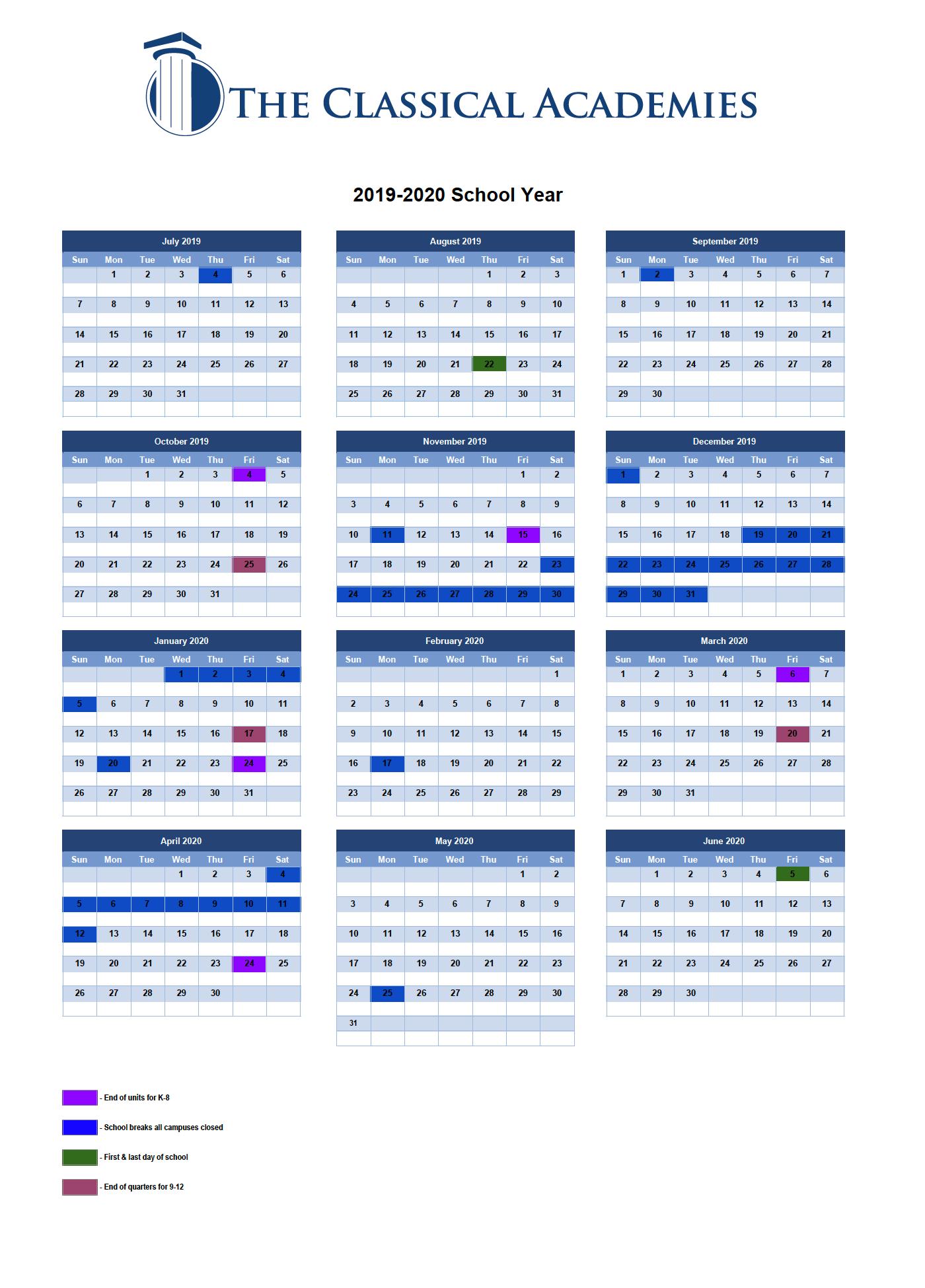 Instructional Calendar - The Classical Academies Intended For San Diego School Calendar 2021