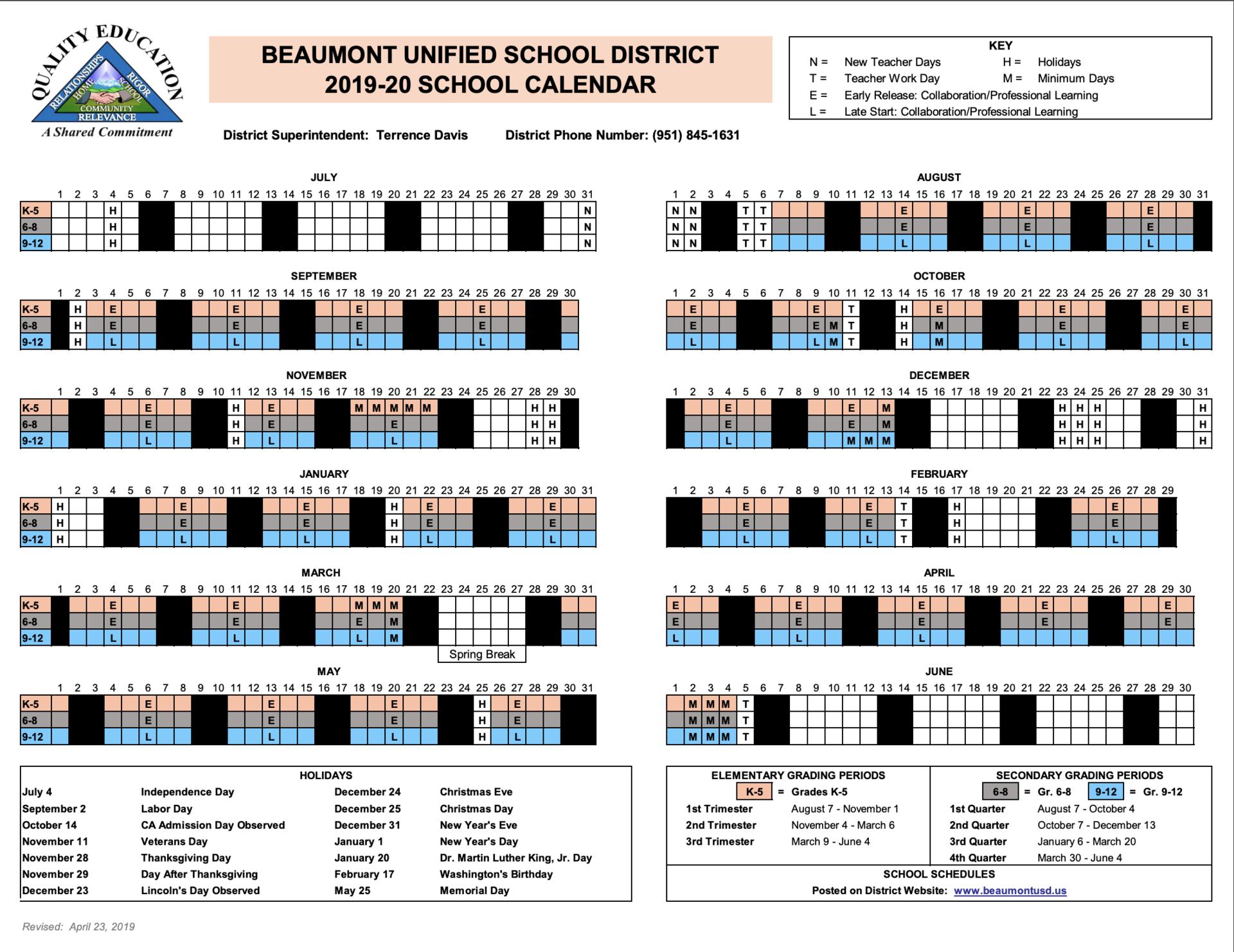 Instructional Calendars – Schools – Beaumont Unified School Inside Temecula School District Calendar