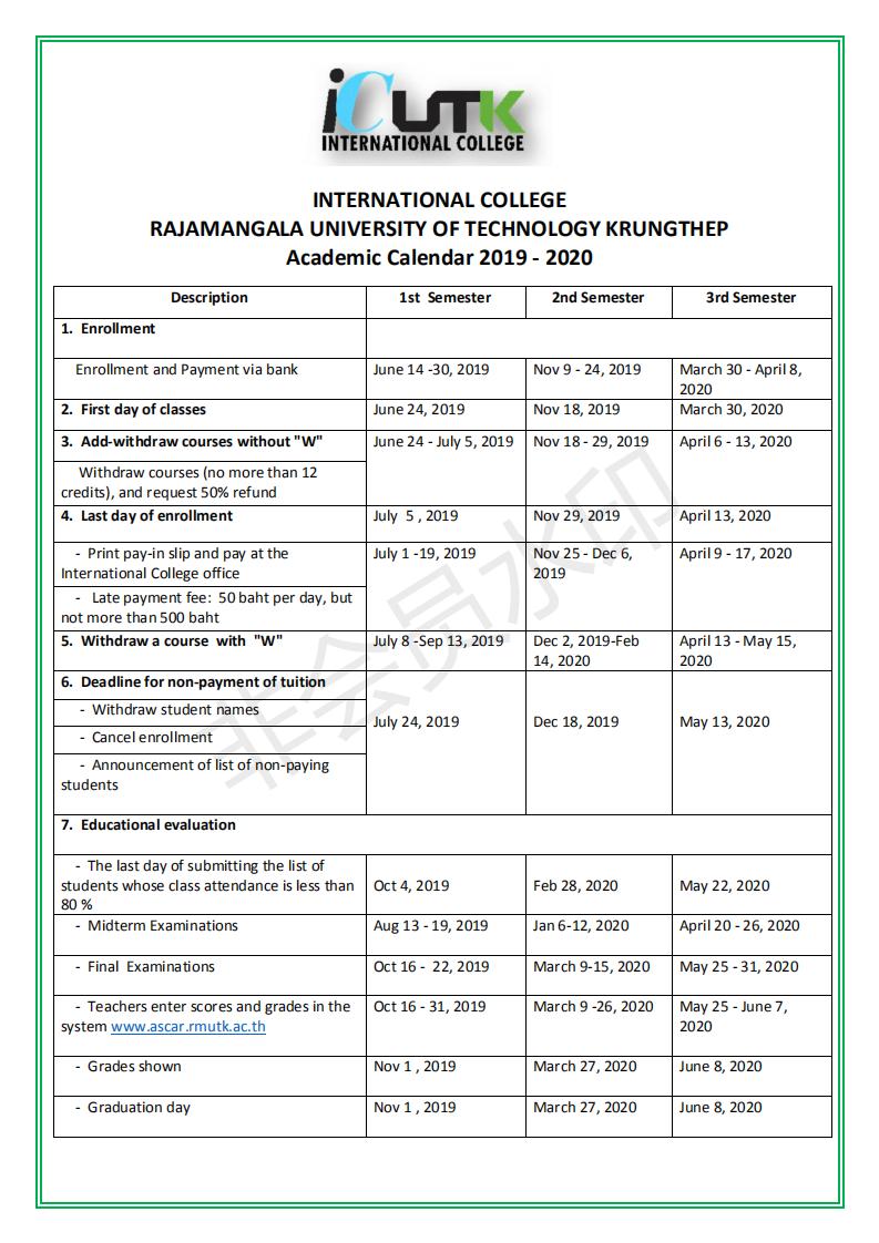 International College Rajamangala University Of Technology With 2021 2020 Gcu Academic Calendar