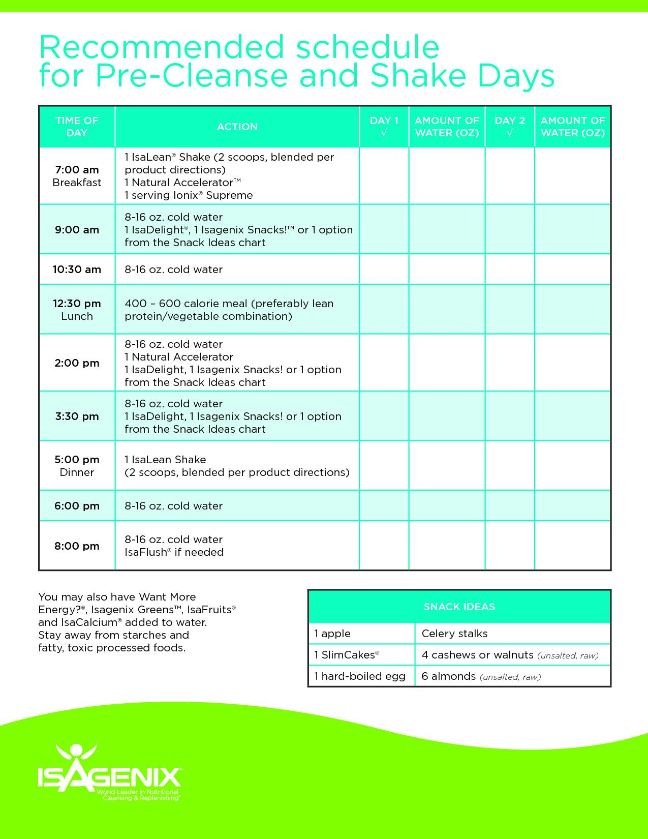 Isagenix Shake Day Schedule - Google Search | Isagenix for Isagenix Cleanse Day Schedule Printable