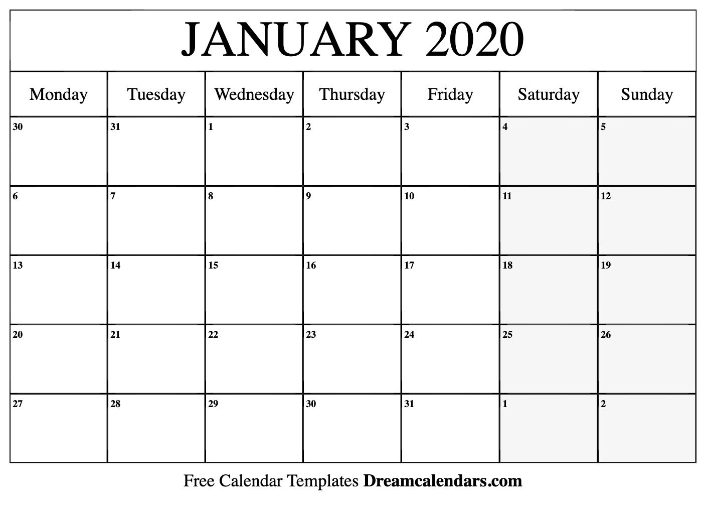 January 2020 Calendar Printable (Monday)   Calendar, Free With Sunrise Sunset Calendar Printable
