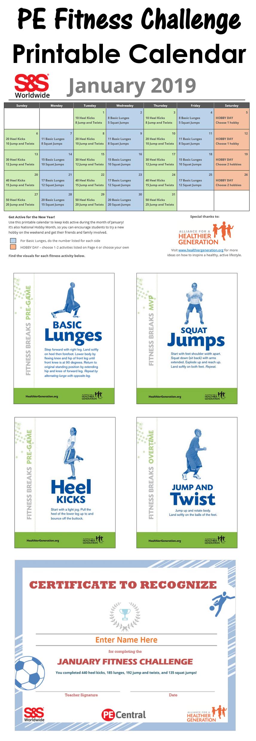 January Printable Fitness Challenge Calendar (With Images In January Fitness Printable Challenge
