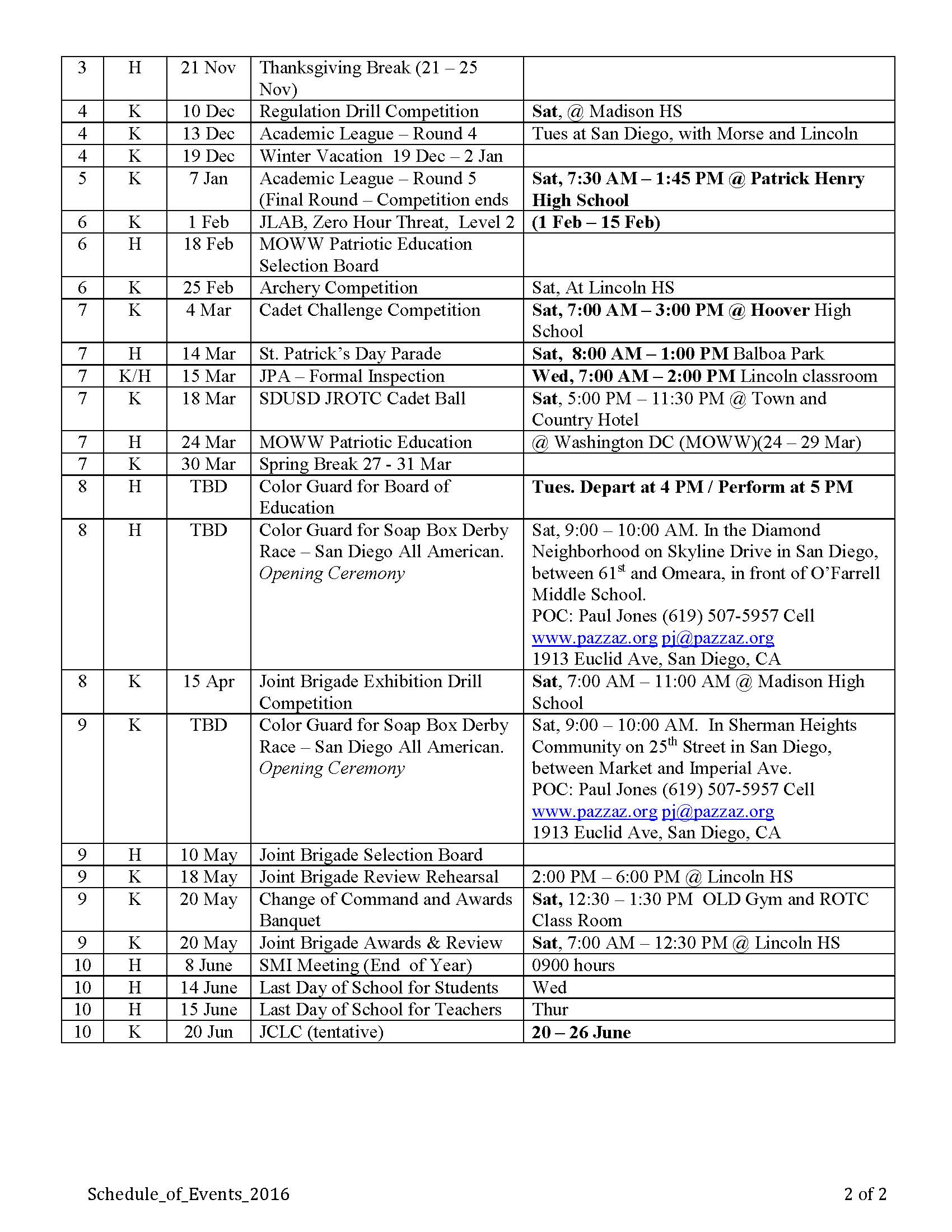 Jrotc Schedule Of Events   Lincoln In Lincoln Unified School District Calendar 2021