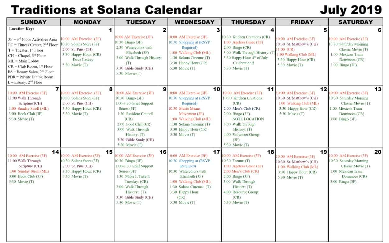 July 2019 Calendar | Traditions At Solana In Mexican Calendar With Names