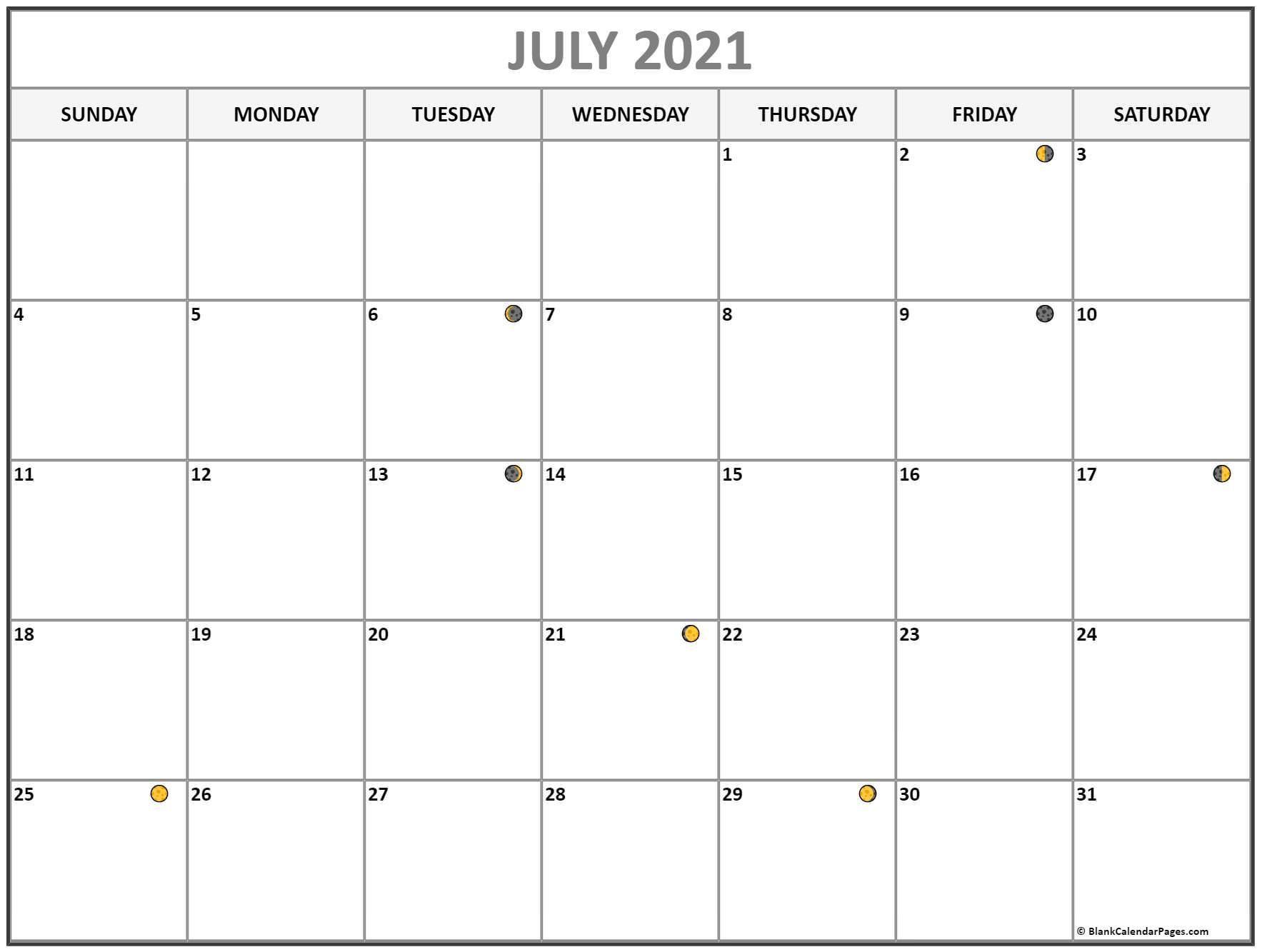 July 2021 Lunar Calendar | Moon Phase Calendar Intended For Moon Phase Deer Hunting Chart 2021