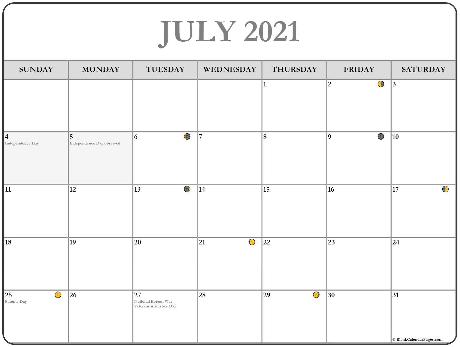 July 2021 Lunar Calendar | Moon Phase Calendar With 2021 Deer Hunting Lunar Calendar