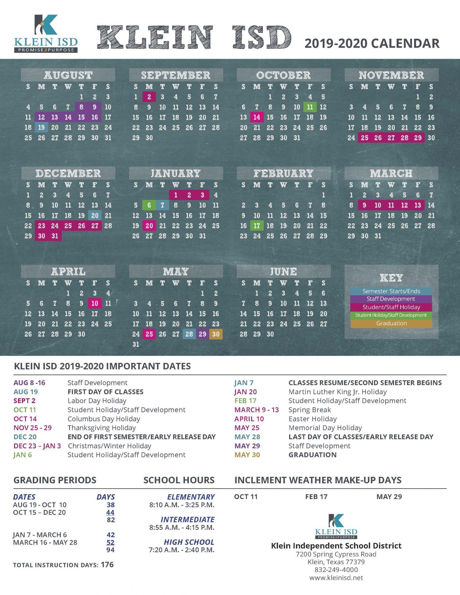 Klein Isd Announces Calendar For 2019 2020 School Year For New Caney School Calendar