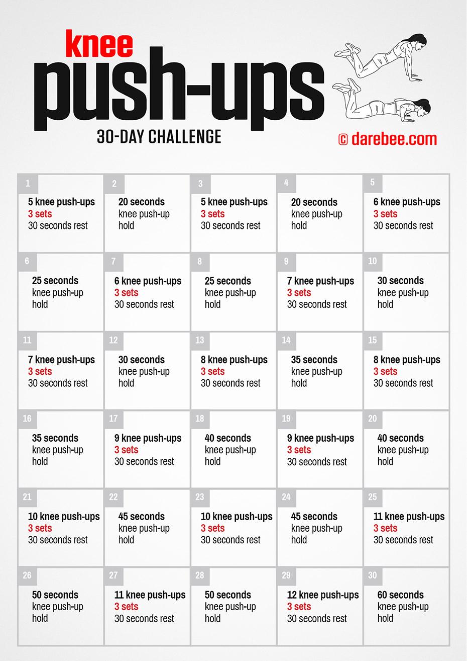 Knee Push Ups Challenge Regarding 30 Day Push Up Challenge Printable Pdf