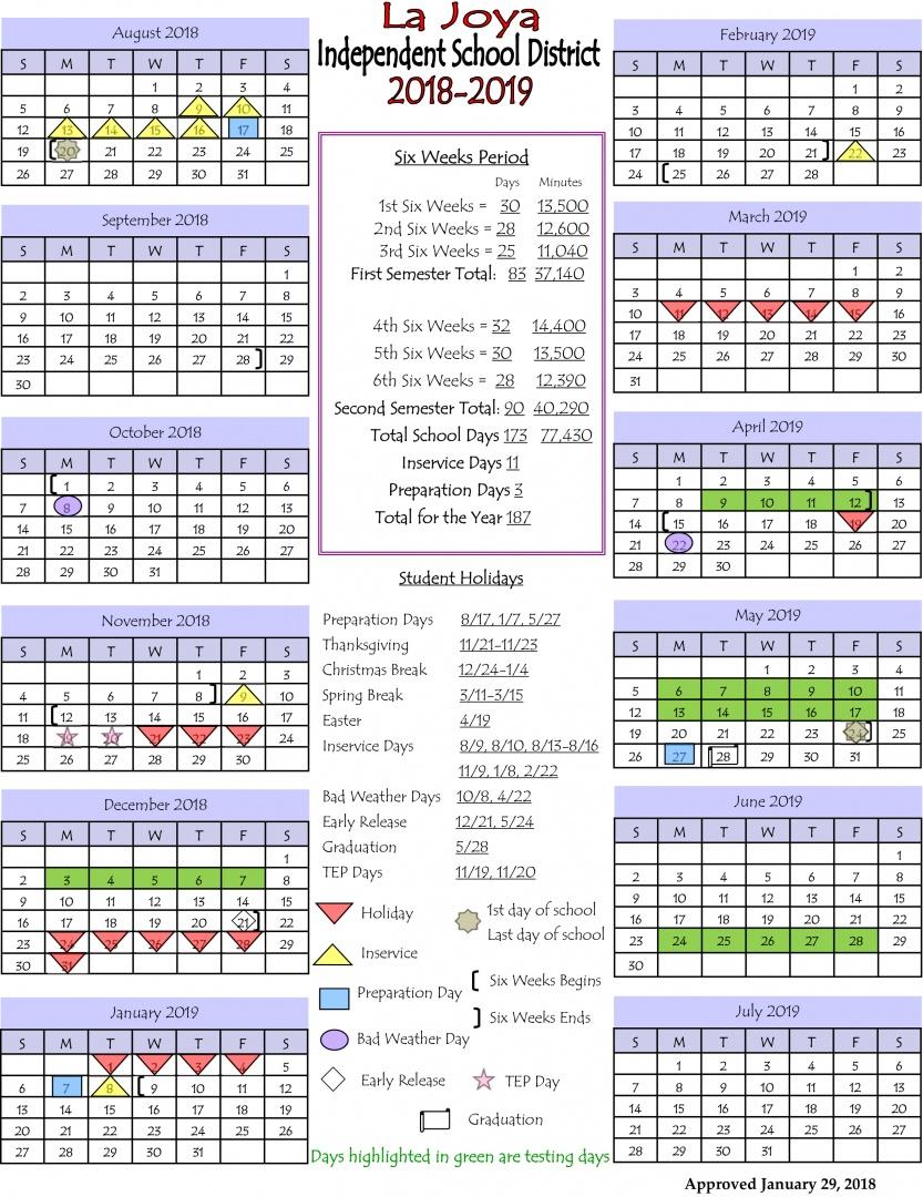 La Joya Isd - Ljisd Calendar 2018-2019 pertaining to La Joya Independent School District Calendar