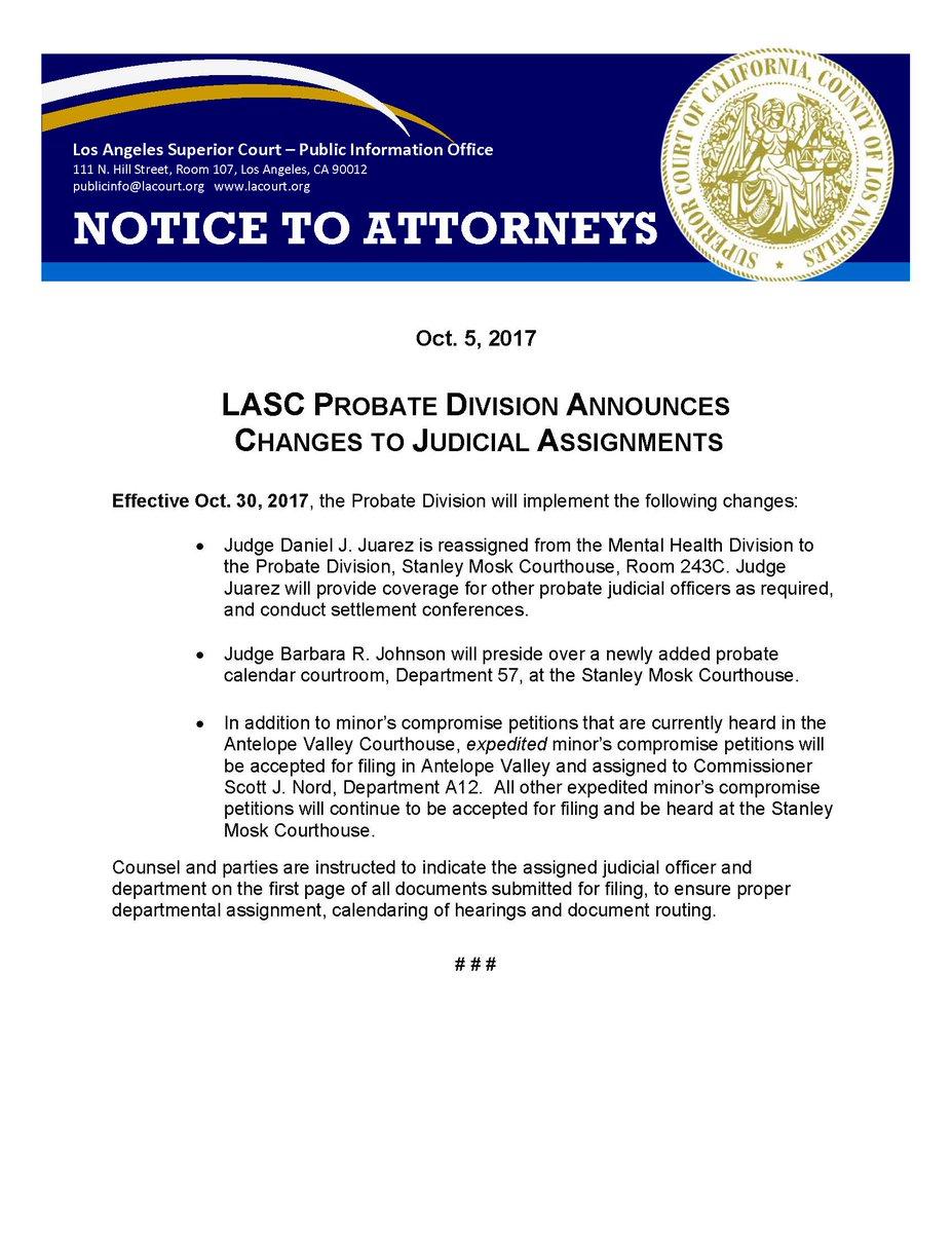 "La Superior Court On Twitter: ""#attorneys – Lasc's Probate Regarding Los Angeles Superior Court Calendar"