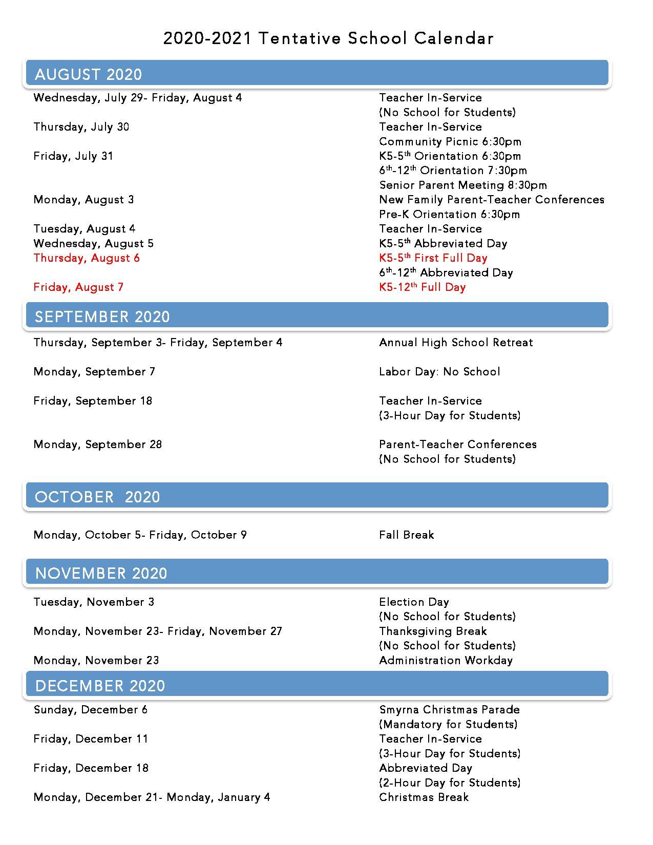 Lca Calendar With Davidson County Tn School 2021 - 2020 Calendar
