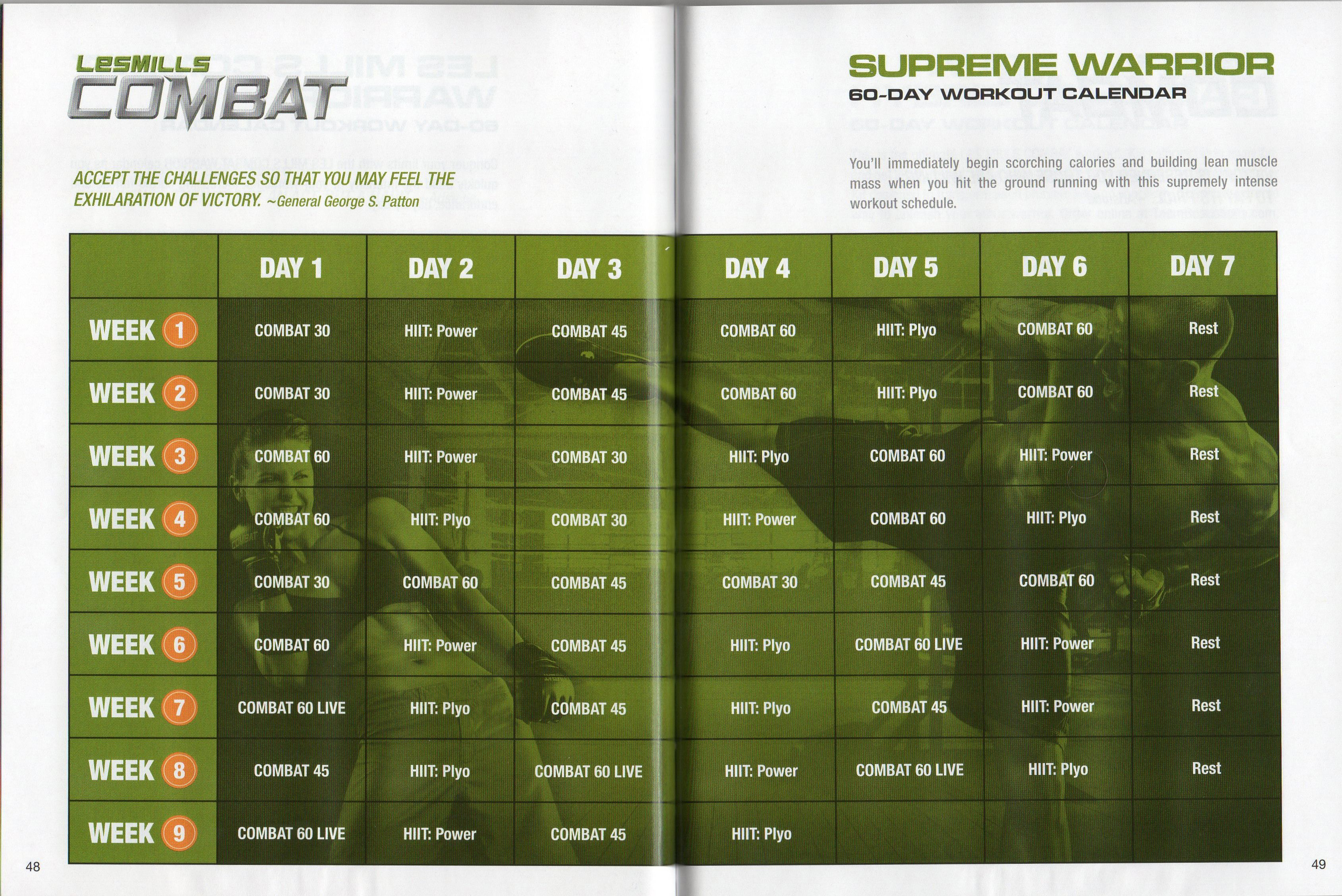 Les Mills Combat ~ 02 ~ 60 Day Supreme Warrior Calendar Throughout Body Combat Workout Schedule