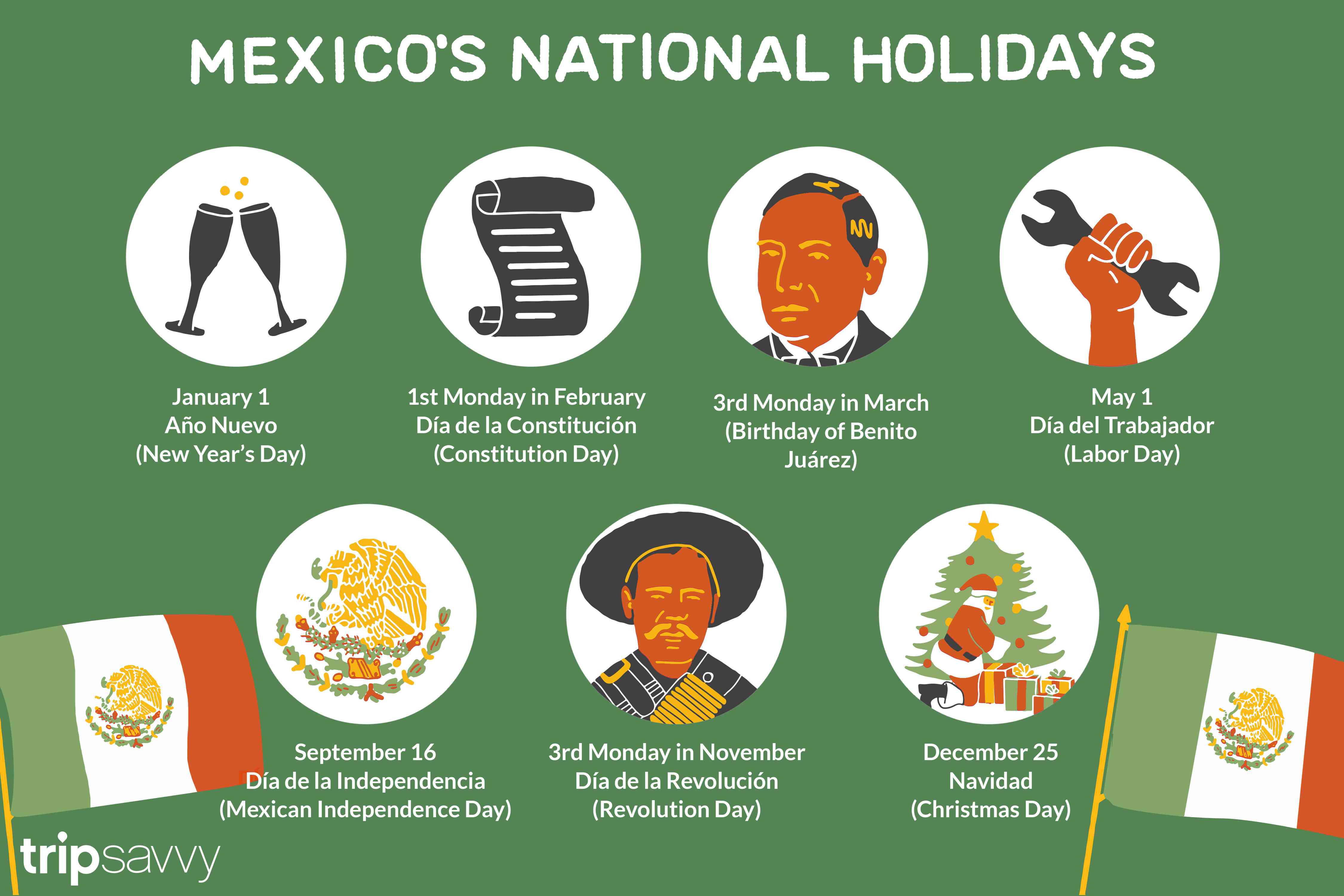 List Of Mexican National Public Holidays With Traditional Mexican Calendar Names