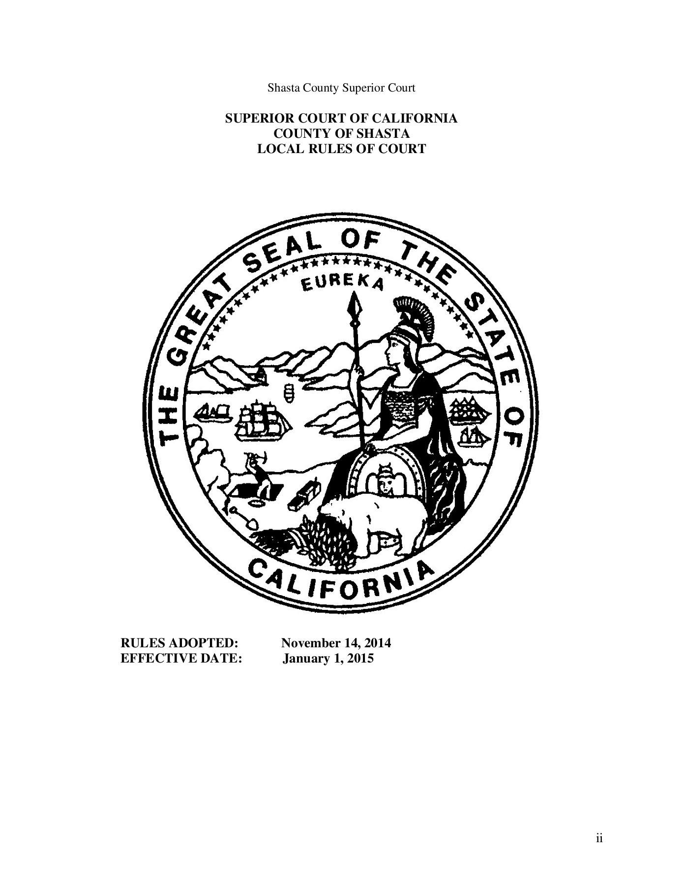 Local Rules - Superior Court Of California - County Of Regarding Shasta County Superior Court Calander