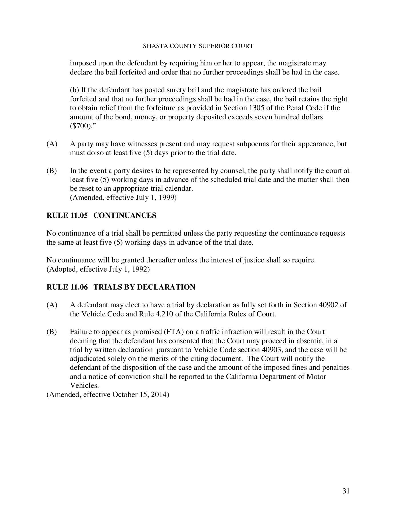 Local Rules - Superior Court Of California - County Of With Shasta County Superior Court Calander