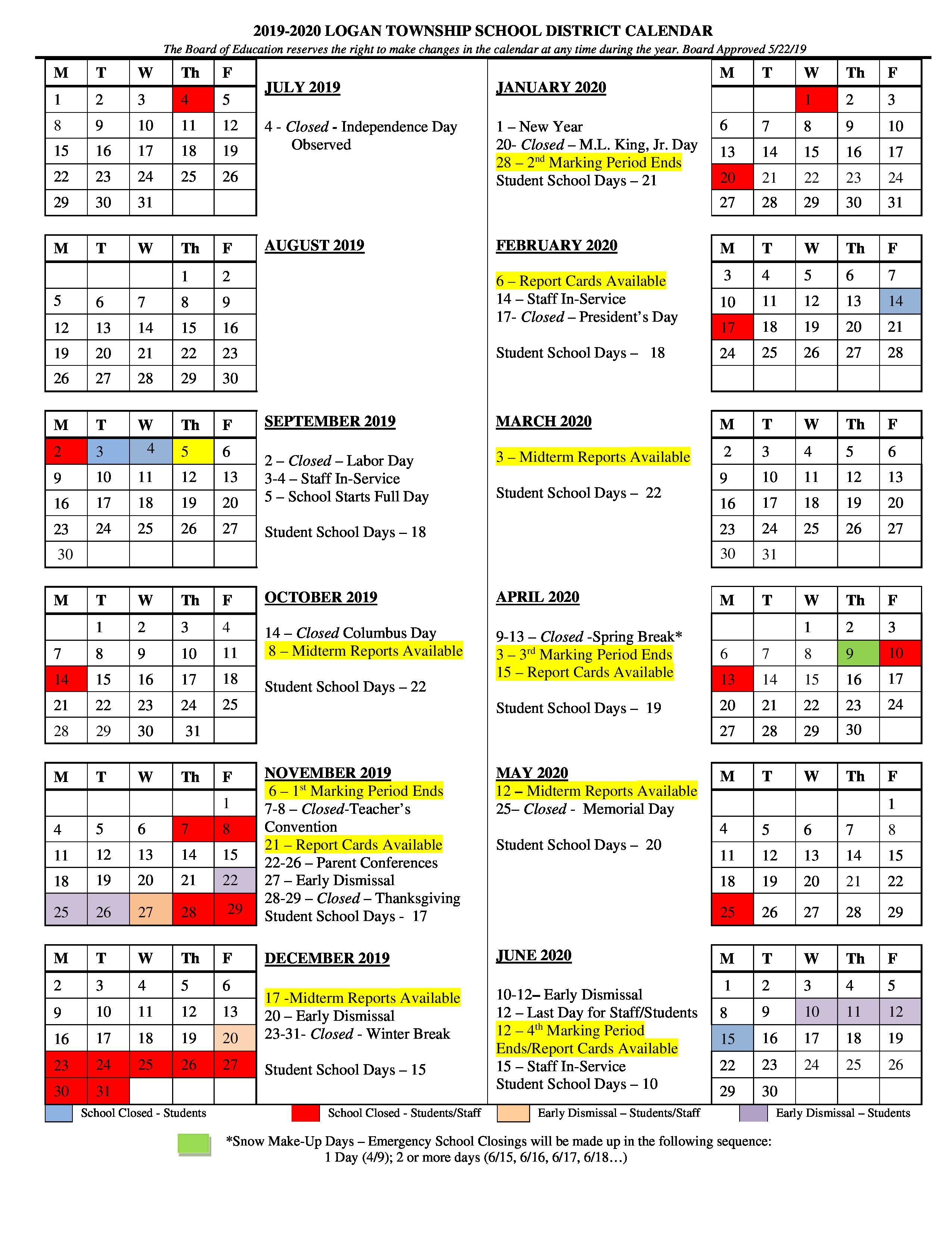 Logan Township Schools District Within Manheim Township School District Calendar