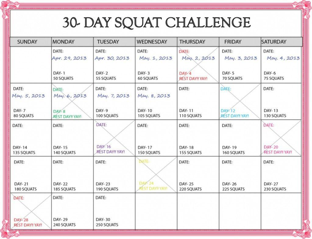 Lovely 30 Day Squat Challenge Printable Calendar (Dengan Gambar) Inside 30 Day Squat Calender