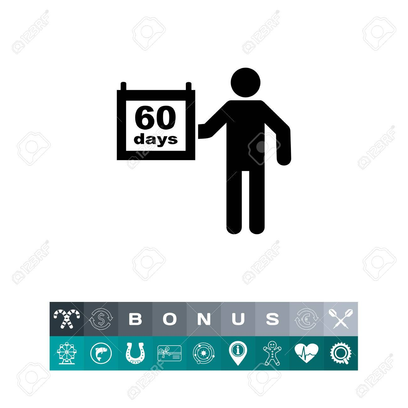 Man With Calendar Page Sixty Days. Deadline, Project, Date. Planning  Concept. Can Be Used For Topics Like Planning, Business, Management. Within 60 Calander Days From Today