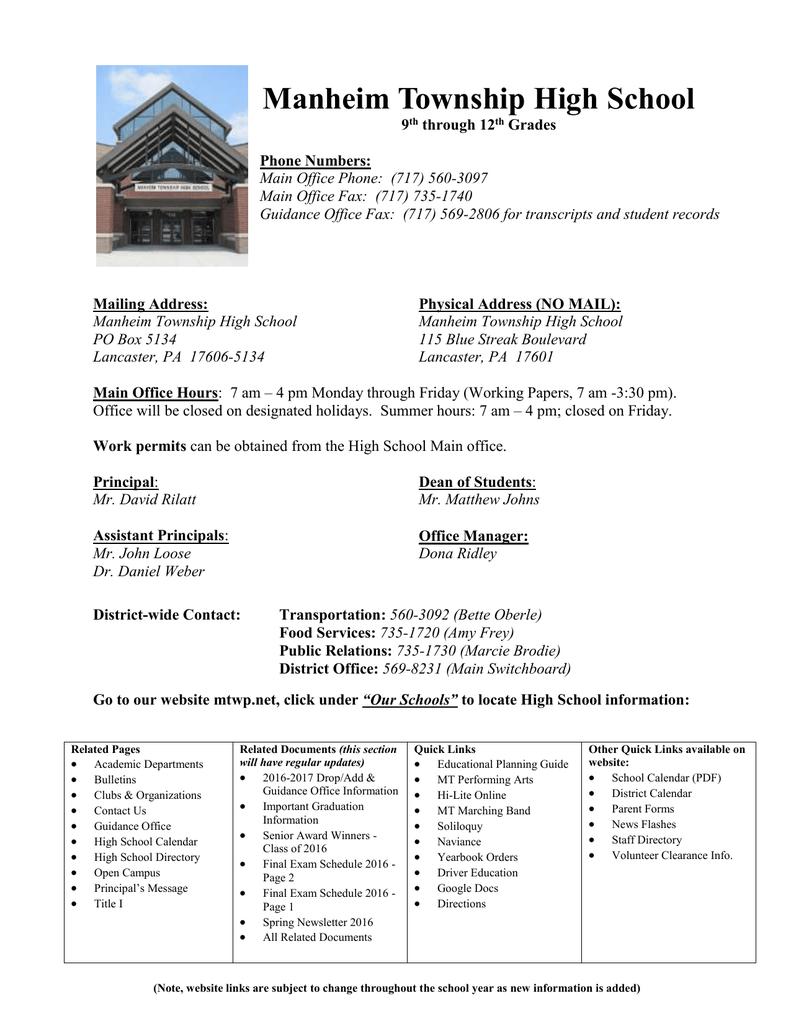 Manheim Township High School – Manheim Township School District In Manheim Township School Calendar