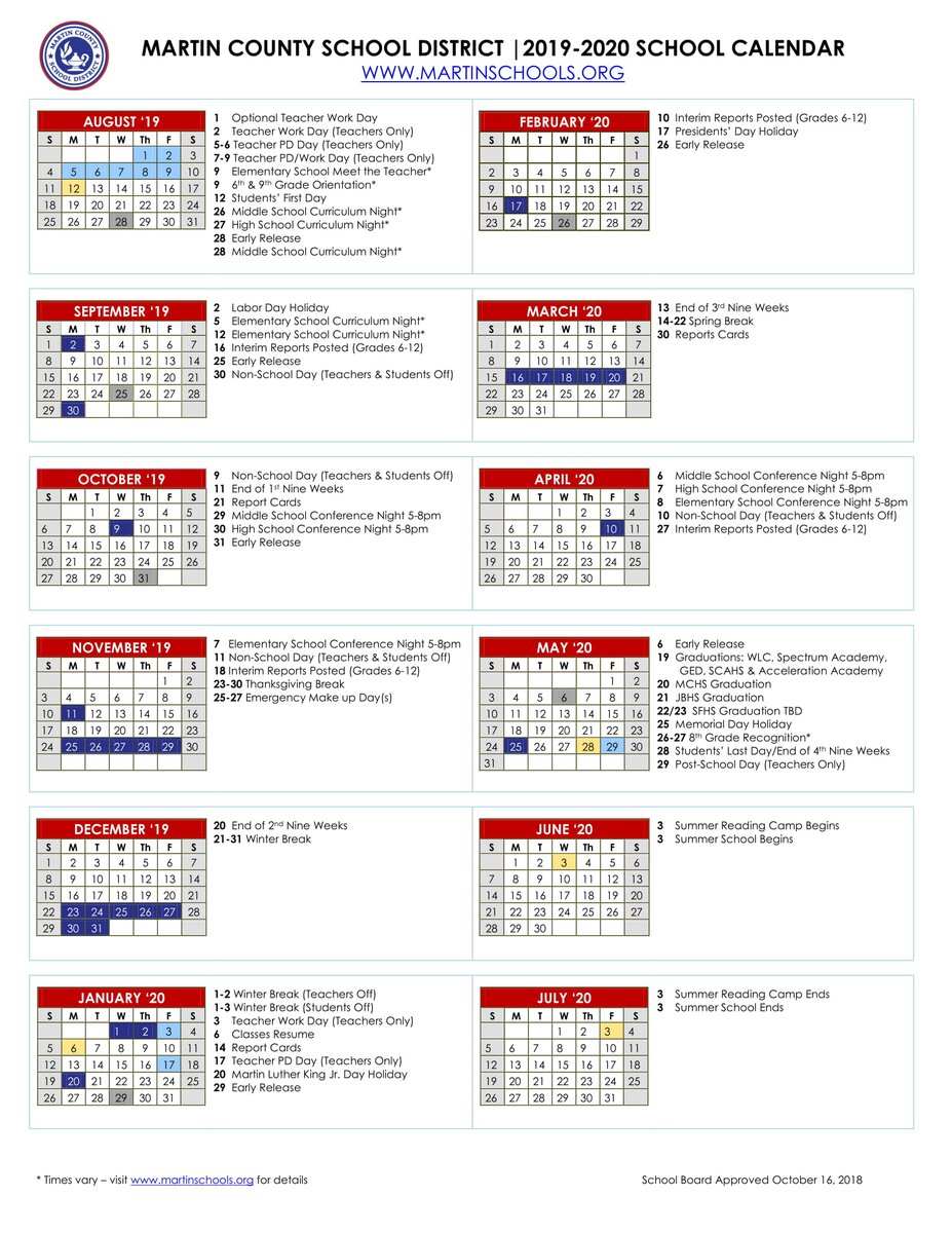 """Martin County School District On Twitter: """"📆looking Ahead With Martin County School District Calendar"""