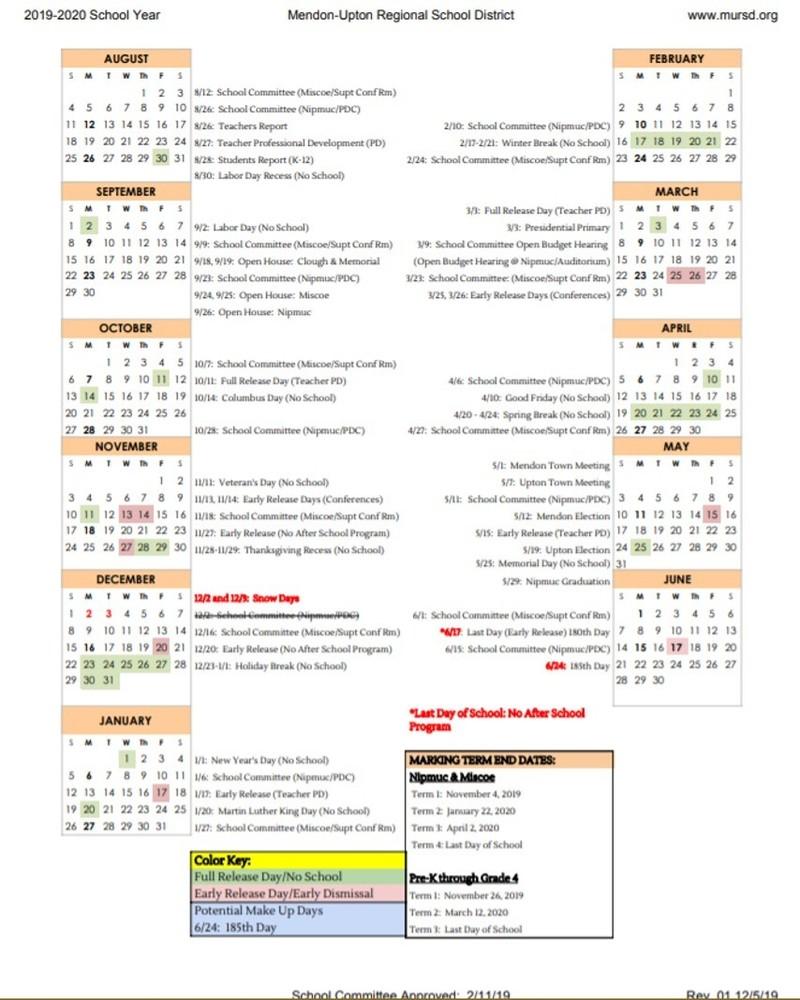 Mendon Upton Regional School District For Plesant Valley School District In 2014 Calandar