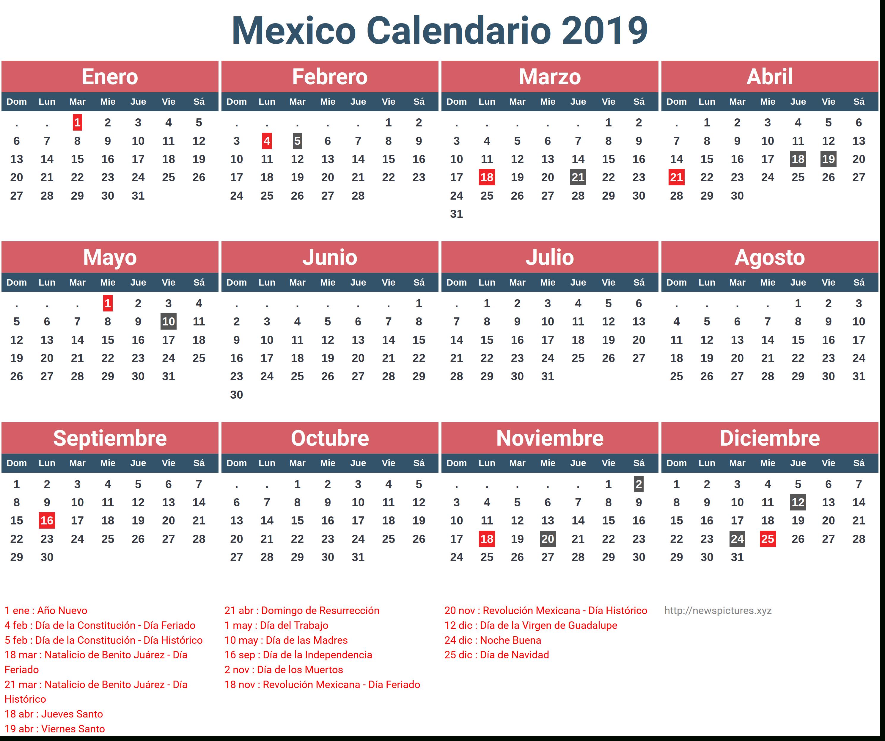 Mexican Calendar Names 2019 – Samyysandra Throughout Mexican Calendar With Names