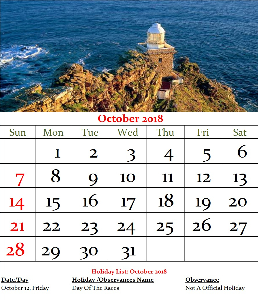 Mexico Monthly Calendar October 2018 | Year Throughout Mexican Calendar With Names